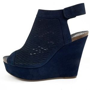 Vince Camuto Navy Kyrene Suede Wedge Sandals NWOT
